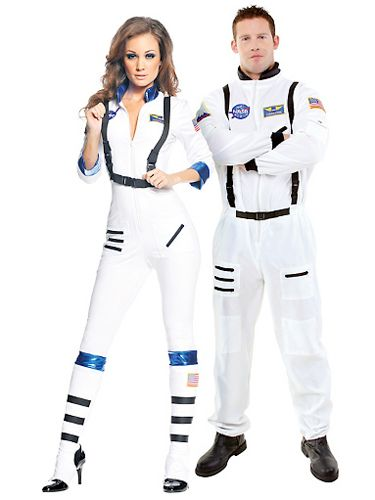 """Felix Baumgartner's stratosphere jump got people all excited about space again. Your guy will feel like a stud in this astronaut's uniform—and you'll look crazy-hot.<br /><br />  Astronaut couples costume, $49.99 for her; $39.99 for him, <a href=""""http://www.partycity.com/product/blast+off+sexy+astronaut+and+white+astronaut+couples+costumes.do?sortby=ourPicks&pp=60&size=all&navSet=170392"""" target=""""_blank"""">PartyCity.com</a>"""
