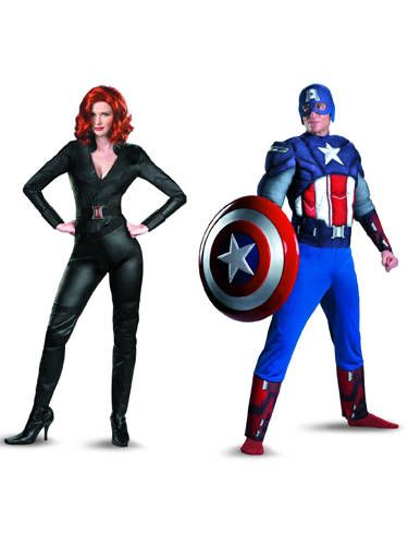 """If your guy is any kind of action movie fan, he'll freak over these looks. Bonus: You can reuse them again in the bedroom. <br /><br /> Black Widow costume, $44, <a href=""""http://www.amazon.com/Disguise-Costumes-Marvels-Avengers-Costume/dp/B007ULRGI6/ref=pd_sbs_a_1"""" target=""""_blank"""">Amazon.com</a>; Captain America costume, $42, <a href=""""http://www.amazon.com/Disguise-Costumes-Marvels-Avengers-Captain/dp/B007S01VD0/ref=sr_1_22?s=apparel&ie=UTF8&qid=1351007327&sr=1-22"""" target=""""_blank"""">Amazon.com</a>"""