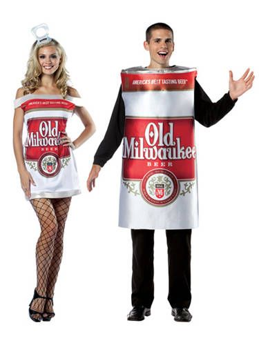 """This combines two of his favorite things: You in a short dress and brewski. <i>Niiice</i>. <br /><br /> Old Milwaukee dress, $28.99, <a href=""""http://www.halloweencostumes.com/old-milwaukee-dress-costume.html?source=googleps&gclid=CMGo44rDl7MCFU-d4AodwQcApA"""" target=""""_blank"""">HalloweenCostumes.com</a>; Mens Old Milwaukee costume, $38.99, <a href=""""http://www.halloweencostumes.com/mens-old-milwaukee-beer-costume.html?source=googleps&gclid=COWSoJjDl7MCFYuZ4AodTHAAuw"""" target=""""_blank"""">HalloweenCostumes.com</a>"""