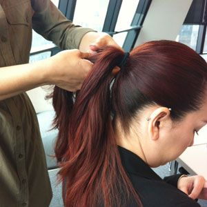 <p>If you have thick hair, separate the ponytail into two sections, and braid each. If your hair is fine, you can just use one braid.</p>