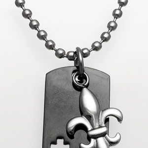 <p>Guy bling that's cool yet understated.</p><p>Santify Stainless Steel Cross Dog Tag Necklace, 50, kohls.com</p>