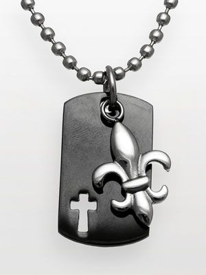 <p>Guy bling that's cool yet understated.</p> <p>Santify Stainless Steel Cross Dog Tag Necklace, 50, kohls.com</p>