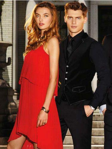 Arm, Collar, Trousers, Dress shirt, Coat, Dress, Joint, Outerwear, Red, Formal wear,