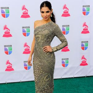 <p>Model and TV Personality Alejandra Espinoza worked the red carpet in this patterned dress. If we had to give an award for the most unique dress (in a good way), she'd take the title!</p>