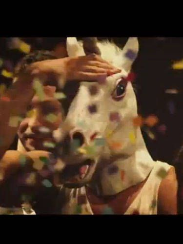 <p><i>The Hunger Games</i> star Liam Hemsworth always seems so serious, but we caught a glimpse of his playful side when he wore a unicorn mask for a little tongueaction with Miley in a recent music video.</p>   <p>It's always fun to do a little role-playing, though we don't really advise bringing a unicorn mask into the bedroom. Unless that's your thing, of course.</p>