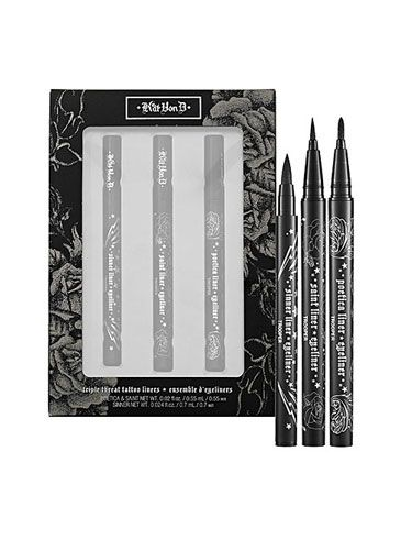 "<p>The bombshell tattoo artist-cum-reality star has created a perfect storm of liner fabulosity! The kit comes stocked with this bestselling trio: Poetica creates a bold line; Saint has a skinny tip for precision lining; and Sinner's medium felt tip is great for contouring eyes.</p>  <p>Kat Von D Triple Threat Tattoo Liners, $39, <a href=""http://www.sephora.com/triple-threat-tattoo-liners-P303306?om_mmc=Googlepla&_requestid=42976&cm_mmc=us_search-_-GG-_-pla-_-{keyword}&ci_src=17588969&ci_sku=1366434"" target=""_blank"">sephora.com</a></p>"