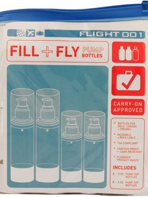 """<p>Fill these airline approved bottles with your fave beauty products. The ziplock case is leak proof!</p> <p>$22, <a href=""""http://www.flight001.com/f-1-exclusives/essentials/f1-fill-fly-bottle-set.html"""" target=""""_blank"""">Flight001</a></p> <p> </p>"""