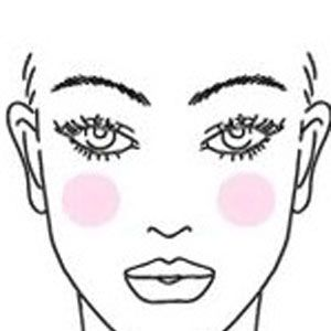 <p>For oval face shapes, apply blush on the apples of the cheeks and blend with a blush brush.</p>