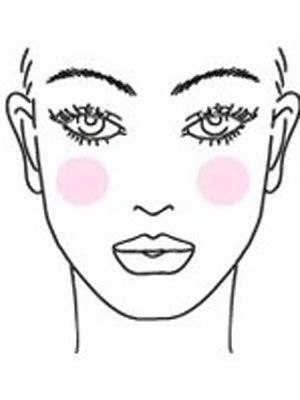 <p>For oval face shapes, apply blush on the apples of the cheeks and blend with a blush brush.</p> <p> </p> <p>*Tip: For something a little more dramatic, after you've applied foundation and a powder blush, apply a second powder blush using an angled brush like MAC #168. If you get a little crazy with the color, just dust loose powder on your cheek bones to tone it down. <br /> </p>
