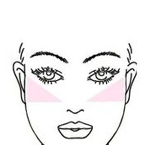 <p>To slim a round face, apply your blush in an angular motion blending from the apples of the cheeks towards the temples.</p>