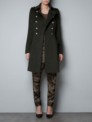 "<p>Military coats are chic and cool at the same time. Take command of winter in this bad boy from Zara.</p>  <p>Zara Woolen Military Coat, $129.99, <a href=""http://www.zara.com/webapp/wcs/stores/servlet/product/us/en/zara-us-W2012-s/317502/987011/WOOLLEN%20MILITARY%20COAT"" target=""_blank"">zara.com</a></p>"
