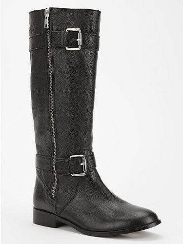 "You can't go wrong with a heavy-duty motorcycle boot over tights with a sweet, girlie dress.  <br></br> Kimchi Blue double-buckle moto boot, $49.99,  <a href=""http://www.urbanoutfitters.com/urban/catalog/productdetail.jsp?id=25283003&parentid=SALE_W_SHOES"" target=""_blank"">urbanoutfitters.com</a>"