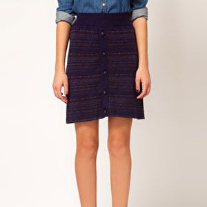 """<p>Take a chance on the Boho side with this wool knitted front button skirt by Sessun. Pair with a chambray blouse or a big loungy sweater top.</p><p>$102.90, <a title=""""Knitted button front skirt"""" href=""""http://www.asos.com/Sessun/Sessun-Intarsia-Knitted-Skirt-with-Button-Front/Prod/pgeproduct.aspx?iid=2409053&SearchQuery=button%20front%20skirt&sh=0&pge=0&pgesize=20&sort=-1&clr=Darkblue%20"""" target=""""_blank"""">ASOS</a></p>"""