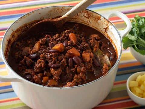 1 pound chicken breast (diced) 1 pound ground turkey 3 ounces chipotle adobe   1 onion (large)   2 garlic cloves (roasted) 2 garlic cloves (minced fresh) 1 tablespoon onion powder 1 tablespoon garlic powder 1 tablespoon chipotle powder 1 tablespoon chili powder 1 tablespoon paprika 1 cup pinto beans (cooked) 1 cup kidney beans (cooked) 3 cups canned Italian plum tomatoes 1 cup white chicken stock   1 tablespoon sriracha 1 ripe avocado 1 tablespoon olive oil 1 scallion, chopped 2 sprigs cilantro (just leaves) 1 tablespoon non fat sour cream 1 tablespoon low fat shredded aged cheddar (optional) Kosher salt Pepper <br></br> Start by seasoning the chicken breast and ground turkey with kosher salt and pepper. Heat olive oil in a large pot over high heat, then add chicken and turkey. Cook for 10 minutes, until brown. Drain off the excess oil and add dried seasons. Remove the protein and set aside. Cook the onions and garlic until tender, about 5 minutes. Add the pureed chipotle adobe and roasted garlic. Return the meats to the pot with the rest of the ingredients. Cook over a slow simmer for 2 hours. Taste and add final seasoning of salt and pepper. Finish with sliced avocado, non-fat sour cream, fresh thinly sliced scallion, cilantro leaves and low-fat shredded aged cheddar.   <br></br> SOURCE: Chef Michael Ferraro, Delicatessan, New York, NY