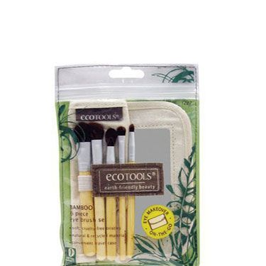 "<p>This totally green set comes with a variety of super-soft shadow, blush, and powder brushes—plus an adorable travel mirror. Just the thing to ""accidentally"" leave in his medicine cabinet for your next visit!</p>