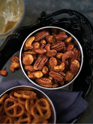 <p>1 cup water<br />1 cup sugar<br />1 1/2 cups mixed nuts<br />2 tbsp. Simple Indulgence Chocolate Dessert Blend<br />1 tbsp. Simple Indulgence Southwest Chipotle Seasoning Blend <br /><br />Preheat oven to 350°F/175°C. Line a baking sheet with parchment paper. Place water in a deep saucepan and bring to a boil. Remove pan from heat slowly stir in sugar until dissolved. <br /><br />Add nuts, soak 10 minutes, drain and discard liquid. In a small bowl, stir together blends. Add nuts and stir until mixture coats nuts. Spread nuts in a single layer on baking sheet. Bake 10-15 minutes, stirring occasionally, until nuts start to glisten and appear dry. Serve as a snack or sprinkle over salad. </p>