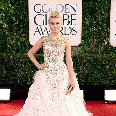 "Our <a href=""http://www.cosmopolitan.com/celebrity/exclusive/julianne-hough-february-cover"" target=""_blank"">February cover girl</a> dazzled in a gold-encrusted white Monique Lhuillier gown."
