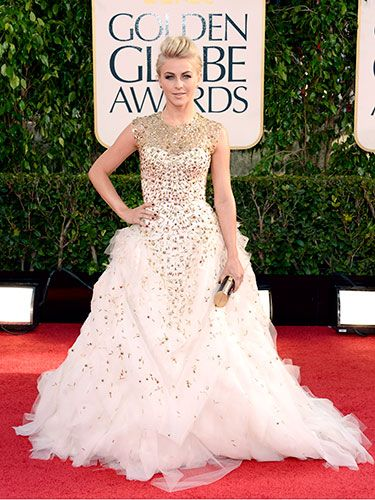 """Our <a href=""""http://www.cosmopolitan.com/celebrity/exclusive/julianne-hough-february-cover"""" target=""""_blank"""">February cover girl</a> dazzled in a gold-encrusted white Monique Lhuillier gown."""