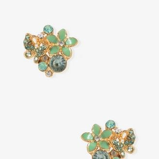 "<div style=""margin: 0pt&#x3B;""><span style=""font-family: Times New Roman&#x3B; font-size: medium&#x3B;""><span style=""font-size: 12pt&#x3B;"">Who says floral earrings have to stand alone, this onefeatures a mix of stones and a rhinestone butterfly. Available in both peach and mint.</span></span></div>