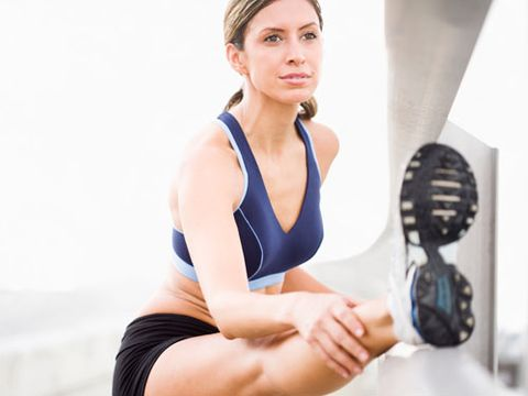 Stand tall and lift one knee until it's in line with your hip. Keeping your back straight and foot flexed, slowly straighten your leg out in front of you, hold for a few seconds, re-bend your knee, and put your foot down. Repeat 10 times on each leg.