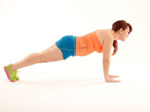 <p>Stand in horse straddle pose with hands in prayer position.</p> <p>Drop into squat position. Place both hands flat on the ground in front of you. Jump back into plank position. Do one push-up.</p> <p>Do three sets of 32 reps, 5-6 times per week. (Work up to the total number of reps.) </p>