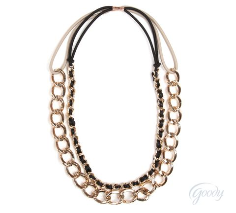 <p>Sleek gold-chained headbands double as chic necklaces. Wear alone or layered.</p>