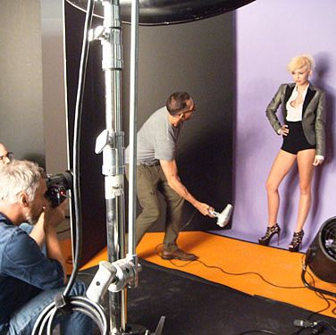 Looking fierce on-set with photographer Matthias Vriens-McGrath