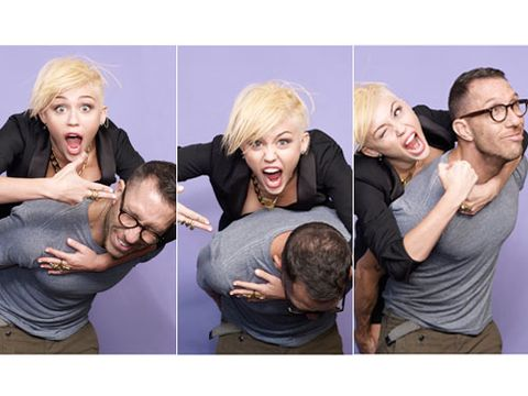 Goofing off with her hairstylist and Cosmo fave, Chris McMillan
