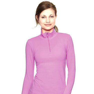 """So much running gear is boring black, so spice up your outdoor fitness look with a wicking half-zip in some nice pastels.<br></br>GapFit Motion Half-zip Pullover, $54.95, <a href=""""http://www.gap.com/browse/product.do?cid=83065&vid=1&pid=249054032"""" target=""""_blank"""">gap.com</a>"""