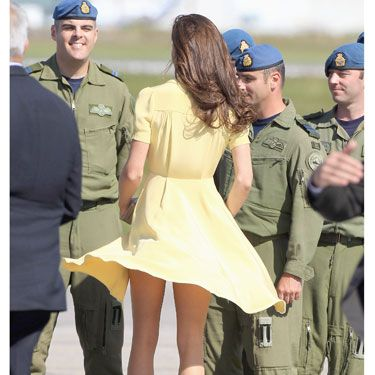 A blustery day can make a wardrobe malfunction out of the best of us. And the best of us is Duchess Kate.