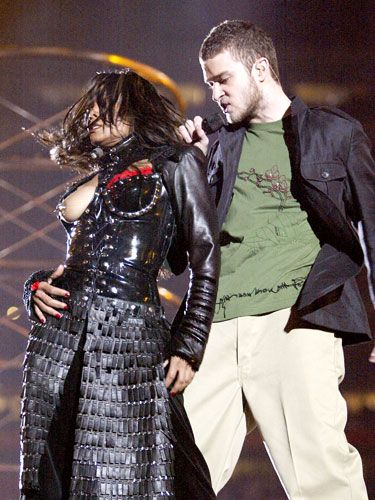 """The Boob Seen 'Round the World Janet Jackson and JT's mishap at the 2004 Super Bowl, and Jackson's subsequent press release, pretty much coined the term """"wardrobe malfunction."""""""