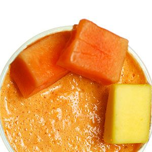<p>All the flavors of the Cuban tropics, loaded with vitamin A and antioxidants. Makes 1 serving. (145 calories)<br /><br />1⁄2 cup diced ripe mango<br /> 1⁄2 cup diced ripe papaya<br />4 ice cubes<br />1⁄2 cup coconut or almond milk<br /><br />Combine all ingredients in a blender and process until smooth.</p><p> </p><p> </p>