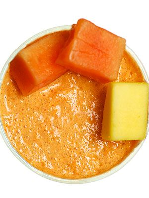 <p>All the flavors of the Cuban tropics, loaded with vitamin A and antioxidants. Makes 1 serving. (145 calories)<br /><br />1⁄2 cup diced ripe mango<br /> 1⁄2 cup diced ripe papaya<br />4 ice cubes<br />1⁄2 cup coconut or almond milk<br /><br />Combine all ingredients in a blender and process until smooth.</p> <p> </p> <p> </p>