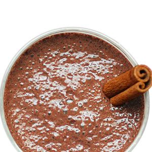 <p>Better than coffee, this Aztec fave boasts rich cocoa that boosts happiness and energy. Makes 1 serving. (380 calories)</p><p>1 cup cold coconut milk<br /> 1⁄2 banana<br />4 ice cubes<br />2 tablespoons unsweetened cocoa powder<br /> 2 tablespoons brown sugar<br />1⁄2 teaspoon ground cinnamon<br />1⁄4 teaspoon cayenne pepper<br />1⁄4 teaspoon kosher salt</p><p>Combine all ingredients in a blender and process until smooth.<br /><br /><br /></p>