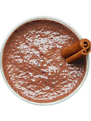 <p>Better than coffee, this Aztec fave boasts rich cocoa that boosts happiness and energy. Makes 1 serving. (380 calories)</p> <p>1 cup cold coconut milk<br /> 1⁄2 banana<br />4 ice cubes<br />2 tablespoons unsweetened cocoa powder<br /> 2 tablespoons brown sugar<br />1⁄2 teaspoon ground cinnamon<br />1⁄4 teaspoon cayenne pepper<br />1⁄4 teaspoon kosher salt</p> <p>Combine all ingredients in a blender and process until smooth.<br /><br /><br /></p>