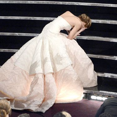"<p>Raise your hand if you wanted to disappear for J-Law after her infamous tumble at the Oscars. Yet as if body-snatched by Sasha Fierce herself, Jennifer jumped up and got it together in about three seconds. Nailing that recovery made her look like the <a href=""http://www.cosmopolitan.com/advice/tips/ways-to-boost-confidence#slide-1"" target=""_blank"">most confident woman in the room</a> —even if she was secretly freaking out inside. Whenever you have an embarrassing moment, like if you spill your drink at a party or beef it in the hallway at work, fake like you're unfazed and keep on keepin' on. Your bounce-back abilities alone will leave everyone impressed/envious.</p>"