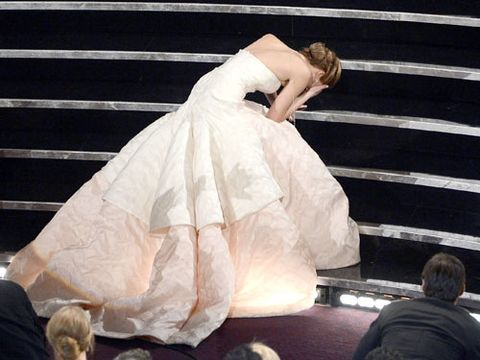 """<p>Raise your hand if you wanted to disappear for J-Law after her infamous tumble at the Oscars. Yet as if body-snatched by Sasha Fierce herself, Jennifer jumped up and got it together in about three seconds. Nailing that recovery made her look like the <a href=""""http://www.cosmopolitan.com/advice/tips/ways-to-boost-confidence#slide-1"""" target=""""_blank"""">most confident woman in the room</a> —even if she was secretly freaking out inside. Whenever you have an embarrassing moment, like if you spill your drink at a party or beef it in the hallway at work, fake like you're unfazed and keep on keepin' on. Your bounce-back abilities alone will leave everyone impressed/envious.</p>"""