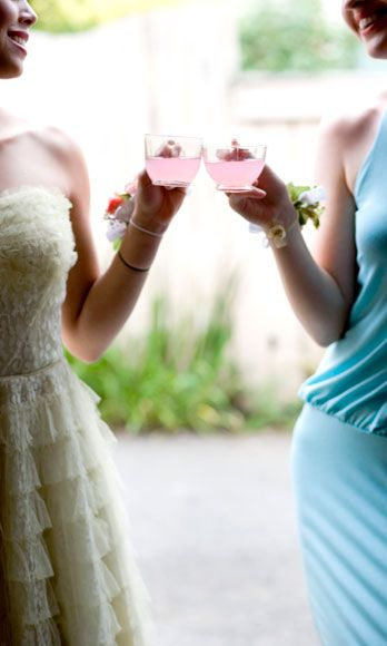 Have a cocktail party coming up? Pair one of your shorter bridesmaid dresses with a big statement necklace and some cute chunky heels to make it look more modern.