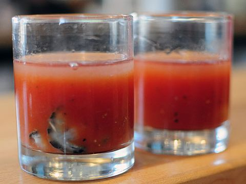 <p><span>Serve this savory cocktail, garnished with the famous aphrodisiac seafood, at morning-after brunch to spark a morning romp in the sack.</span></p> <p><span>Ingredients: 1.5 oz. vodka, 5 oz. Bloody Mary mix, 1/2 c. cider vinegar, 1tsp. salt, 2 blades of mace, 10 cloves, 10 peppercorns, 10 allspice berries, a dash of cayenne pepper</span></p> <p><span>Recipe: Mix vodka and Bloody Mary mix. To pickle the oysters, cook one quart of oysters in their liquor until plump. Remove the oysters and add cider vinegar to the oyster liquor. Bring the liquid to a boil, add salt, mace, cloves, peppercorns, allspice berries, and a dash of cayenne pepper. Boil for five minutes, then pour the liquid over the oysters, seal in glass jars, and store in the fridge at least overnight. Garnish Bloody Marys with oysters.</span></p>