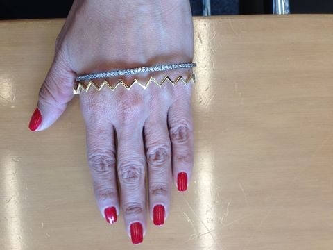 """<p>Bracelets can add such a great look but what happens if you lower them? Well you get a cute new trend - hand bracelets. Our Senior Editor is all over these! We've seen them with feathers, snakes, diamonds, etc. What better way to show off your gorgeous mani than with a little hand bling?</p> <p>$80, <a title=""""Hand Bracelet"""" href=""""http://store.joannalauraconstantine.com/ai181.html%20"""" target=""""_blank"""">Joanna Laura Constantine</a>.</p>"""