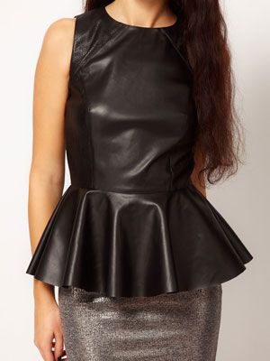 "<p>The peplum top can be your best friend because it can help you hide those little <em>rollitos</em>. Leather is hot right now, so be fierce and go for leather peplum top.</p> <p>$47, <a href=""http://us.asos.com/River-Island-Leather-Look-Peplum-Tank/z78qd/?iid=2691283&mporgp=L1JpdmVyLUlzbGFuZC9SaXZlci1Jc2xhbmQtTGVhdGhlci1Mb29rLVBlcGx1bS1WZXN0L1Byb2Qv&WT.ac=rec_viewed"" target=""_blank"">ASOS</a></p>"