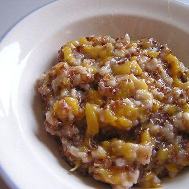 """<div><em>2/3 c. quinoa, cooked in almond milk </em></div><div><em>1 T. chia seeds </em></div><div><em>1/2 c. <a href=""""http://www.cosmopolitan.com/food/cocktails/cosmo_cocktails_spicy_peach?click=main_sr"""" target=""""_blank"""">peaches</a> or berries  </em></div><div><em>1/4 t. cinnamon </em></div><div><em>1/4 t. nutmeg (optional)</em></div><div><em>1 t. honey </em></div><div> </div><div>In a bowl, mix together quinoa, chia seeds, and fruit. Sprinkle on cinnamon and nutmeg, if using. </div><div> </div><div>285 calories</div>"""