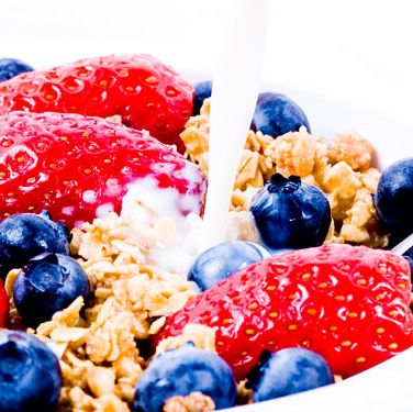 """<p><em>1&frac2 c. Smart Bran Original or All-Bran cereal1 c. puffed kamut or Kashi 7 Whole Grain Puffs cereal1 c. vanilla almond milk1&frac2 c. <a href=""""http://www.cosmopolitan.com/food/cocktails/cosmo_cocktails_berry_mojito?click=main_sr"""" target=""""_blank"""">berries</a></em></p><p>Combine and enjoy!</p><p>215 calories</p>"""