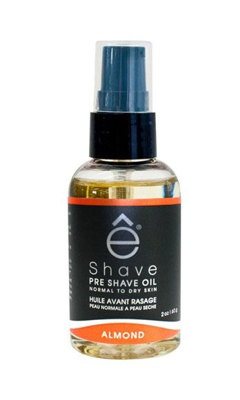"<p>This heavenly-scented essential oil is meant to hydrate mens' skin before shaving, which helps prevent razor burns. We like to massage it on awkward areas like knees, ankles, and underarms – if you shave on a well-moisturized surface, you're less likely to nick.</p> <p>eShave Preshave oil in Almond, $20, <a href=""http://www.eshave.com/shaving-products/pre-shave-oil/pre-shave-oil"" target=""_blank"">eshave.com</a></p>"