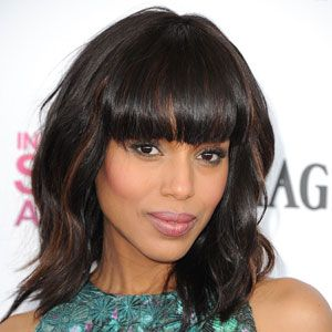 <p>Go for heavy or blunt bangs like Kerry Washington's that go below the eyebrows covering most of the forehead and giving the illusion of an oval face, which accentuates the cheekbones. </p>