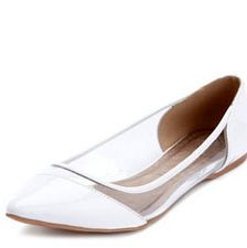 """<p>If you are not a high heel kinda <em>chica</em>, you can still look fashionable with flats! How cute is this pointy toe ballerina from Charlotte Russe? I love the clear plastic, another trend this season.</p><p> </p><p>$24.50, <a href=""""http://www.charlotterusse.com/product/entity/233845.uts"""" target=""""_blank"""">Charlotte Russe</a></p>"""