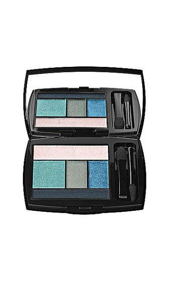 """<p>A burst of turquoise shadow is always a seductive surprise. This all-in-one palette comes with the sexy hue plus complimentary shades, including pinky-white shimmer, matte gray-blue, cobalt shimmer, and matte denim. Hot.</p> <p>Color Design Eye Brightening 5 Shadow & Liner Palette in Teal Fury, $50, <a href=""""http://www.lancome-usa.com/Color-Design/1000515,default,pd.html?dwvar_1000515_color=Teal%20Fury&start=26&cgid=makeup-eyeshadow"""" target=""""_blank"""">lancome-usa.com</a></p>"""