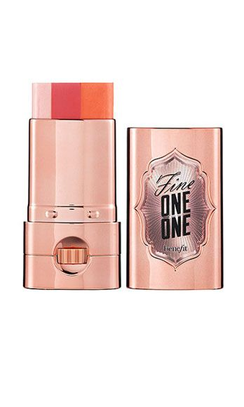 """<p>Rub this sheer color stick over the apples of your cheeks for an instant, lusty radiance -- the light pink, dark pink, and red stripes blend together to create a universally flirty flush.</p> <p>Benefit Fine One on One, $30, <a href=""""http://www.benefitcosmetics.com/product/view/fine-one-one"""" target=""""_blank"""">benefitcosmetics.com</a></p>"""