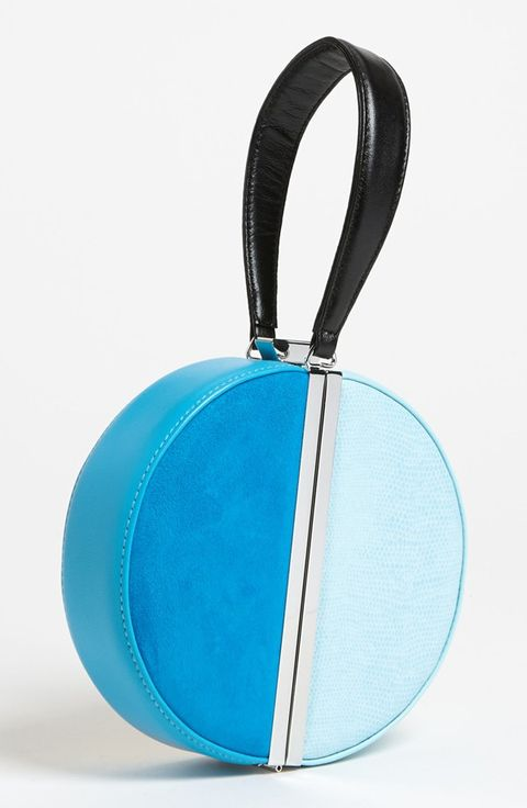 "<p>The colorblocking and shape are so unique, you know that no other <em>chica</em> will be rocking it.</p> <p> </p> <p>$445, <a href=""http://shop.nordstrom.com/S/diane-von-furstenberg-colorblock-circle-clutch/3474996?origin=category&contextualcategoryid=0&fashionColor=KINGS+BLUE%2F+CLEARWATER%2F+GOLD&resultback=938"" target=""_blank"">Nordstrom</a></p>"