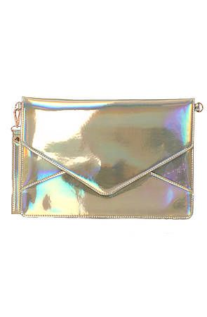 "<p>Envelope clutches never go out of style, so you can wear it season after season! And metallics are sp edgy.</p> <p> </p> <p>$80, <a href=""http://www.misskl.com/product/The-Janelle-Clutch-in-Hologram-Multi/347742?siteID=Hy3bqNL2jtQ-n8u8x6hcDfY0GbhAqJ1aRw"" target=""_blank"">Miss KL</a></p> <p> </p>"